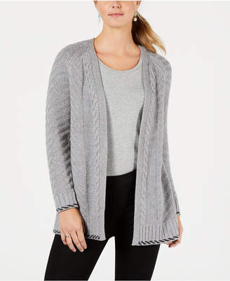 Style&Co. Style & Co Back-Braid Open-Front Cardigan