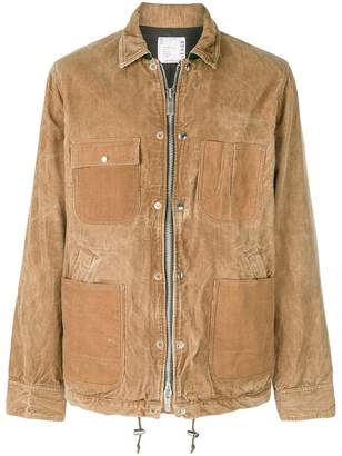 Sacai zipped corduroy shirt jacket