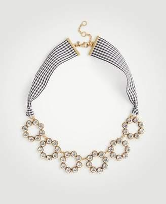 Ann Taylor Circle Crystal Gingham Ribbon Necklace