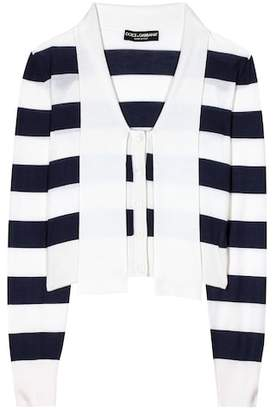 Dolce & Gabbana Striped cashmere and silk cardigan