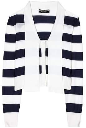 Dolce & Gabbana Striped cashmere and silk cardigan