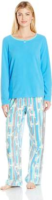Hue Women's Hot Dog Stripe Fleece 3 Piece Pajama Set Banded