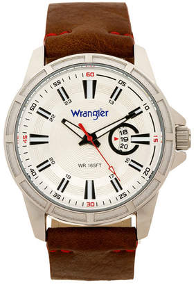 Wrangler Men Watch, 46MM Silver Colored Case with Cutout Bezel, Silver Milled Dial with White Index Markers, Analog. Red Second Hand and Cutout Crescent Date Function, Brown Strap with Red Accent