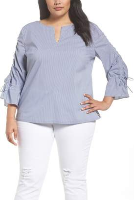 Sejour Flare Sleeve Poplin Top (Plus Size)