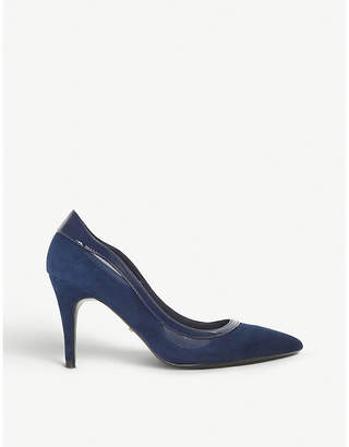 Dune Brylee patent-trim suede court shoes