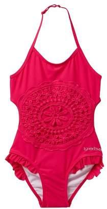 Bebe Crochet Applique Monokini Swimsuit (Big Girls)