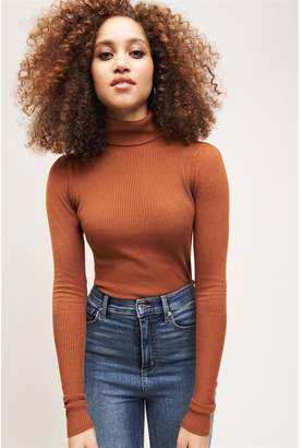 Dynamite Puff Sleeve Turtleneck Sweater Salted Caramel