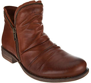 Miz Mooz Leather Ankle Boots with Side Zip -Luna