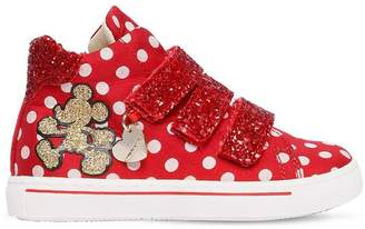 MonnaLisa Polka Dot Nylon & Faux Leather Sneakers