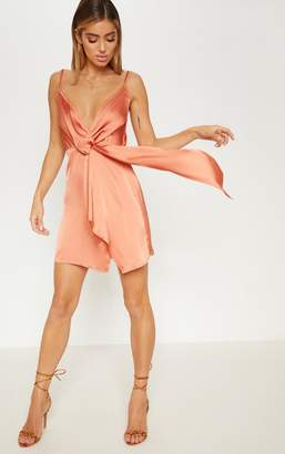 PrettyLittleThing Lime Strappy Satin Plunge Drape Shift Dress