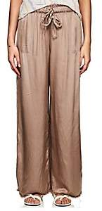 Raquel Allegra Women's Satin Wide-Leg Pants - Brown