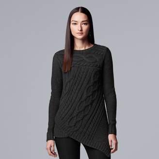 Vera Wang Women's Simply Vera Cable-Knit Asymmetrical Hem Sweater