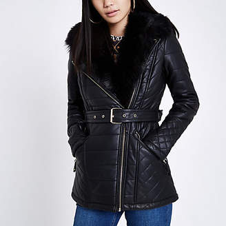 River Island Womens Black faux leather padded coat