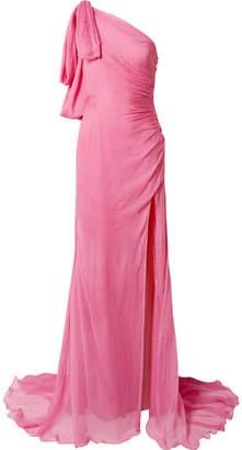 Oscar de la Renta - One-shoulder Crinkled Silk-chiffon Gown - Pink