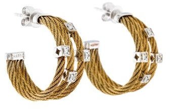 Charriol Charriol Classique Two Tone Diamond Cable Hoop Earrings