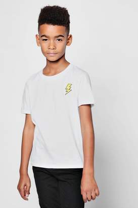 boohoo Boys Lightening Bolt Embroidered T-Shirt