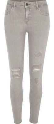 River IslandRiver Island Womens Light grey Amelie ripped super skinny jeans