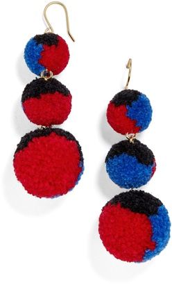 Multi Pom Pom Crispin Ball Drop Earrings $34 thestylecure.com