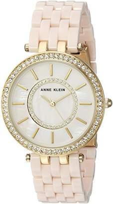 Anne Klein Women's AK/2620LPGB Swarovski Crystal Accented Gold-Tone and Blush Pink Resin Bracelet Watch