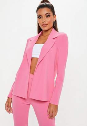 Missguided Pink Stretch Crepe Clean Blazer