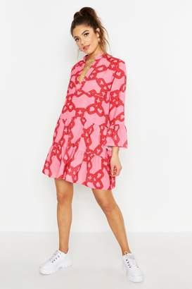 boohoo Woven Chain Print Smock Dress