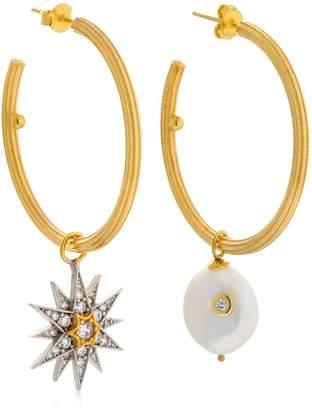 Celestial Pearl & Star Hoop Earrings