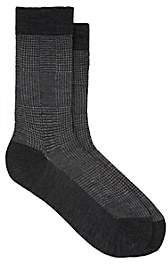 Barneys New York Men's Plaid-Jacquard Merino-Wool-Cotton Mid-Calf Socks - Gray