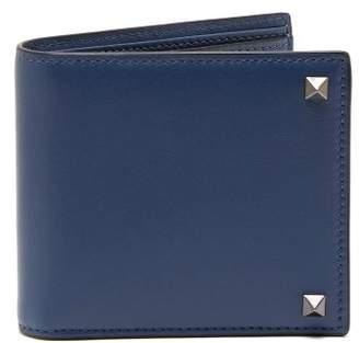 Valentino Rockstud Embellished Leather Wallet - Mens - Indigo