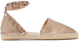 Valentino Rockstud Wraparound Leather Espadrille Flats - Womens - Gold