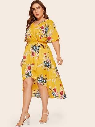 Shein Plus Surplice Front Floral Print Dip Hem Dress