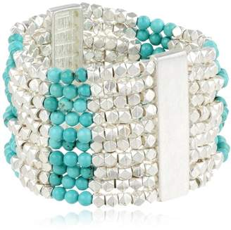Simulated Bead with Silver Tone Accents Wide Stretch Bracelet