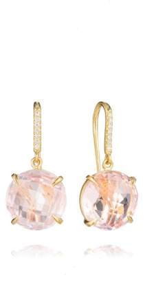 Rose Quartz and Diamond Drop Hook Signature Earrings