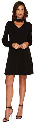 CeCe Long Sleeve Mock Choker Crepe Knit Dress Women's Dress
