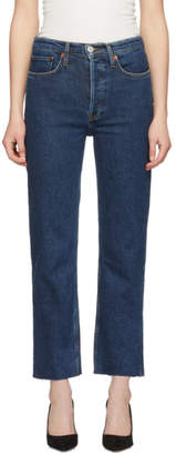 RE/DONE Blue Comfort Stretch High-Rise Stove Pipe Jeans