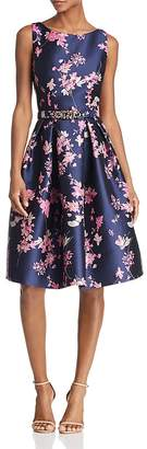 Eliza J Belted Floral Jacquard Dress