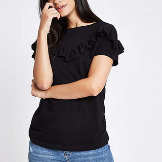River Island Womens Black short sleeve frill T-shirt