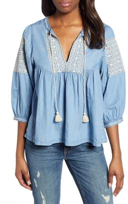 Lucky Brand Embroidered Peasant Top