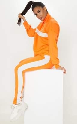 PrettyLittleThing Neon Orange Contrast Side Stripe Straight Leg Jogger