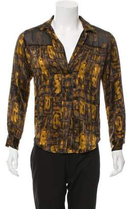 Burning Torch Silk Printed Top