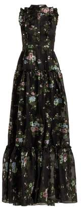 Erdem Ava Fil Coupe Silk Blend Voile Gown - Womens - Black Multi