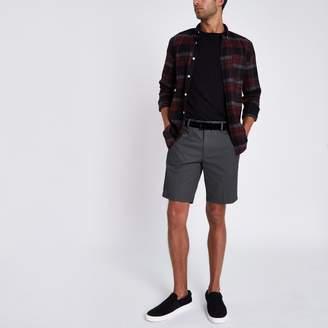 River Island Mens Dark Grey slim fit belted chino shorts