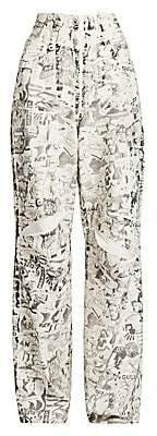 Off-White Women's Oversized Tomboy Graphic Jeans