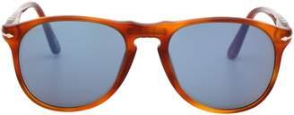 Persol 9649 Aviator Sunglasses 96/56 Terra Di Siena Light Havana / Blue 52 mm