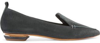 Nicholas Kirkwood Beya Suede Point-toe Flats - Dark gray
