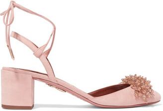 Aquazzura - Monaco Embellished Suede Pumps - Baby pink $795 thestylecure.com