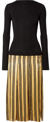 By Malene Birger Lorenas Ribbed-knit And Striped Satin Midi Dress - Black