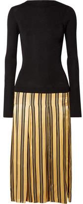Lorenas Ribbed-knit And Striped Satin Midi Dress - Black