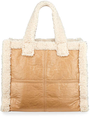 Stand Lolita Paper Tote Bag with Faux-Shearling Trim