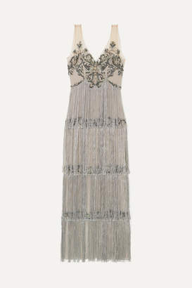 Marchesa Fringed Embellished Tulle And Satin Gown - Silver