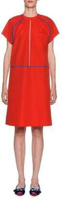 Marni Crewneck Short-Sleeve Poplin Shift Dress w/ Contrast Piping